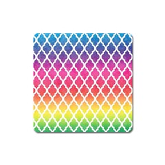 Colorful Rainbow Moroccan Pattern Square Magnet