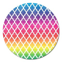 Colorful Rainbow Moroccan Pattern Magnet 5  (Round)
