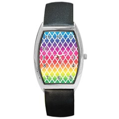 Colorful Rainbow Moroccan Pattern Barrel Style Metal Watch
