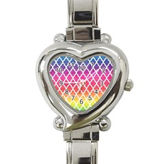 Colorful Rainbow Moroccan Pattern Heart Italian Charm Watch