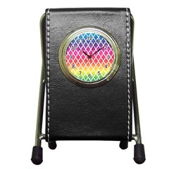 Colorful Rainbow Moroccan Pattern Pen Holder Desk Clocks