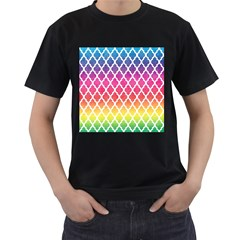 Colorful Rainbow Moroccan Pattern Men s T-Shirt (Black) (Two Sided)