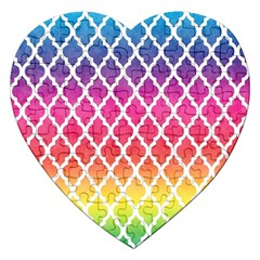 Colorful Rainbow Moroccan Pattern Jigsaw Puzzle (heart)