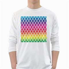 Colorful Rainbow Moroccan Pattern White Long Sleeve T-Shirts