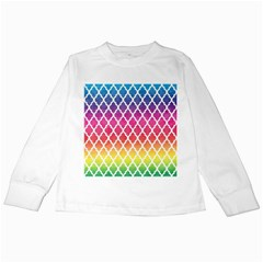 Colorful Rainbow Moroccan Pattern Kids Long Sleeve T Shirts