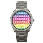 Colorful Rainbow Moroccan Pattern Sport Metal Watch Front
