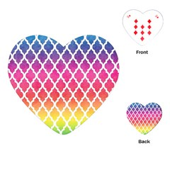 Colorful Rainbow Moroccan Pattern Playing Cards (heart)