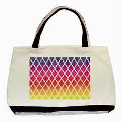 Colorful Rainbow Moroccan Pattern Basic Tote Bag