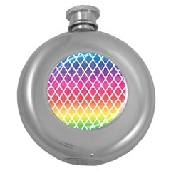 Colorful Rainbow Moroccan Pattern Round Hip Flask (5 Oz)