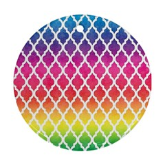Colorful Rainbow Moroccan Pattern Round Ornament (two Sides)