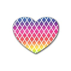 Colorful Rainbow Moroccan Pattern Rubber Coaster (heart)