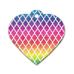 Colorful Rainbow Moroccan Pattern Dog Tag Heart (two Sides)