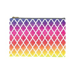 Colorful Rainbow Moroccan Pattern Cosmetic Bag (large)