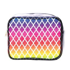 Colorful Rainbow Moroccan Pattern Mini Toiletries Bags