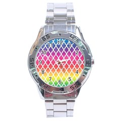 Colorful Rainbow Moroccan Pattern Stainless Steel Analogue Watch