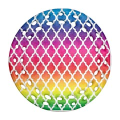 Colorful Rainbow Moroccan Pattern Round Filigree Ornament (two Sides)