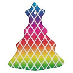 Colorful Rainbow Moroccan Pattern Christmas Tree Ornament (Two Sides)