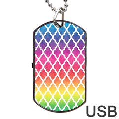 Colorful Rainbow Moroccan Pattern Dog Tag Usb Flash (one Side)