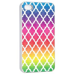 Colorful Rainbow Moroccan Pattern Apple Iphone 4/4s Seamless Case (white)