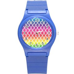 Colorful Rainbow Moroccan Pattern Round Plastic Sport Watch (s)