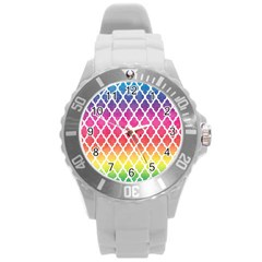 Colorful Rainbow Moroccan Pattern Round Plastic Sport Watch (l)