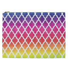 Colorful Rainbow Moroccan Pattern Cosmetic Bag (xxl)