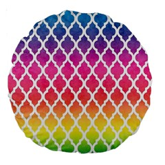 Colorful Rainbow Moroccan Pattern Large 18  Premium Round Cushions