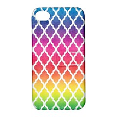 Colorful Rainbow Moroccan Pattern Apple Iphone 4/4s Hardshell Case With Stand