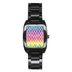 Colorful Rainbow Moroccan Pattern Stainless Steel Barrel Watch
