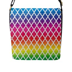 Colorful Rainbow Moroccan Pattern Flap Messenger Bag (l)