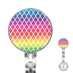 Colorful Rainbow Moroccan Pattern Stainless Steel Nurses Watch