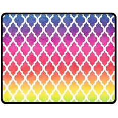 Colorful Rainbow Moroccan Pattern Double Sided Fleece Blanket (medium)