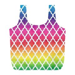 Colorful Rainbow Moroccan Pattern Full Print Recycle Bags (L)