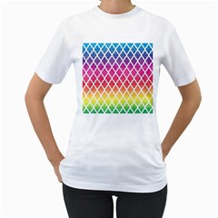 Colorful Rainbow Moroccan Pattern Women s T Shirt (white)