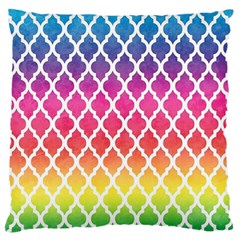 Colorful Rainbow Moroccan Pattern Large Flano Cushion Case (One Side)