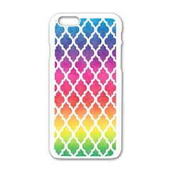 Colorful Rainbow Moroccan Pattern Apple iPhone 6/6S White Enamel Case