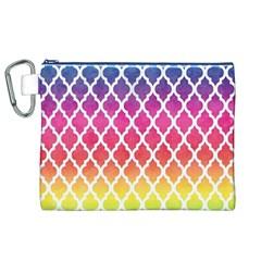 Colorful Rainbow Moroccan Pattern Canvas Cosmetic Bag (xl)