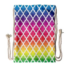 Colorful Rainbow Moroccan Pattern Drawstring Bag (Large)
