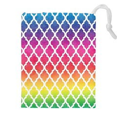 Colorful Rainbow Moroccan Pattern Drawstring Pouches (xxl)