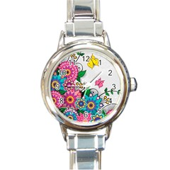 Flowers Pattern Vector Art Round Italian Charm Watch