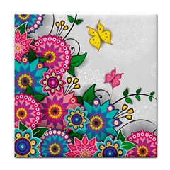 Flowers Pattern Vector Art Tile Coasters