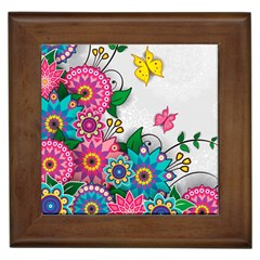 Flowers Pattern Vector Art Framed Tiles