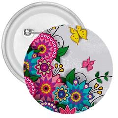 Flowers Pattern Vector Art 3  Buttons