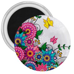 Flowers Pattern Vector Art 3  Magnets