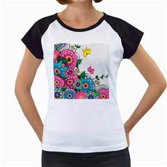 Flowers Pattern Vector Art Women s Cap Sleeve T