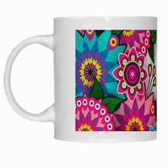 Flowers Pattern Vector Art White Mugs