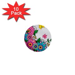 Flowers Pattern Vector Art 1  Mini Buttons (10 Pack)