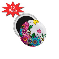 Flowers Pattern Vector Art 1.75  Magnets (10 pack)