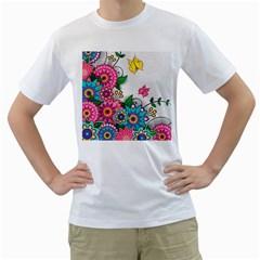Flowers Pattern Vector Art Men s T-Shirt (White) (Two Sided)