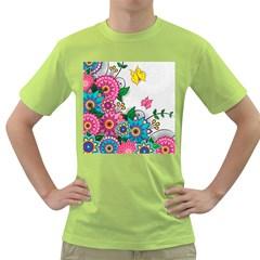 Flowers Pattern Vector Art Green T Shirt